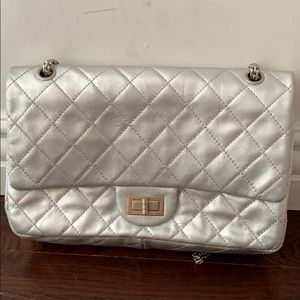 Chanel 2.55 limited Silver Leather Cross Body Bag